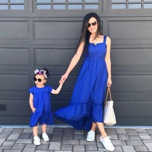 Bright Blue Tiered Dress